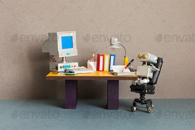 Robot office manager, retro style workplace. Old table with vintage computer, desk lamp and books.