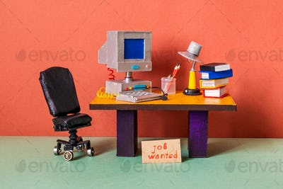 Job wanted. The concept of searching for office vacancies