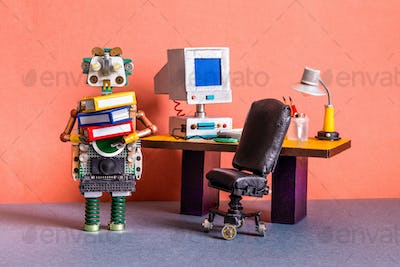 A funny robot office manager holds a bunch of folders with documents