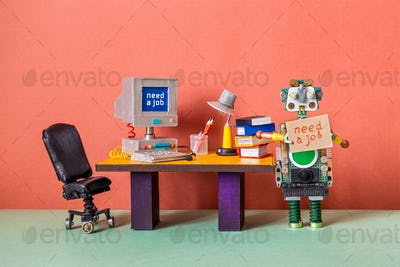 Unemployed robot manager retro style office workplace background.