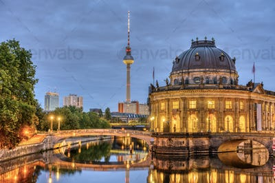 The Bode Museum, the Television Tower and the river Spree