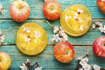 Bowl of apple jam,top view