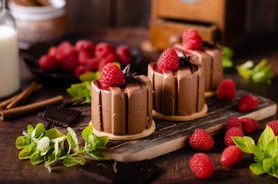Homemade chocolate mini cakes
