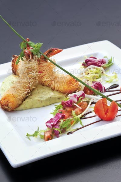 Asian dish on a white plate