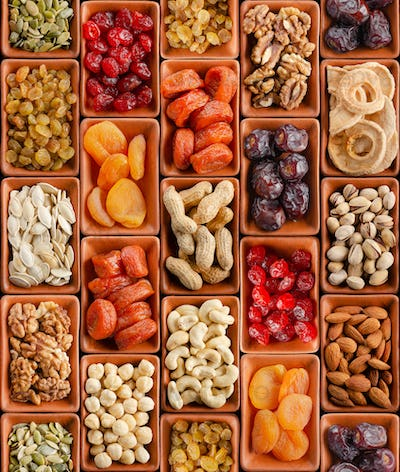 Seamless flat lay food background of dehydrated fruits