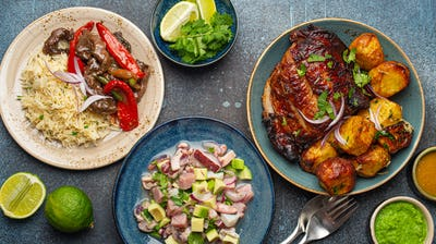 Traditional dishes of Peruvian cuisine from above