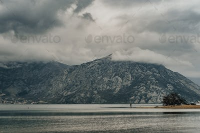 Gloomy weather and  Magic View of Bay of Kotor in spring time. Montenegro