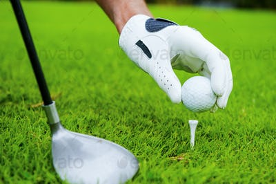 Preparing for strike. Close-up of golfer setting a ball to strike