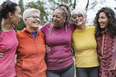 Multi generational women having fun together at park