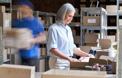 Warehouse workers hurry in blur motion to deliver parcels. Fast delivery concept
