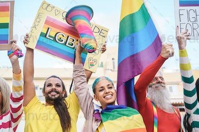 Gay people having fun at pride parade