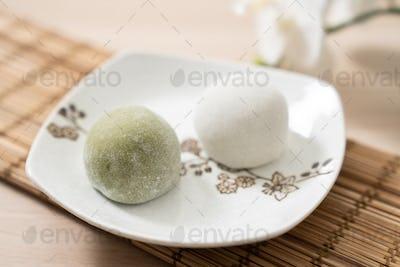 Japanese matcha and original mochi or daifuku dessert