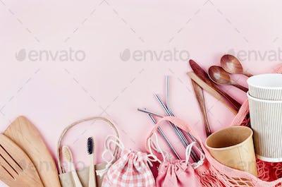 Plastic free set, cotton eco bag, stainless straws, bamboo toothbrush. Zero waste, eco friendly
