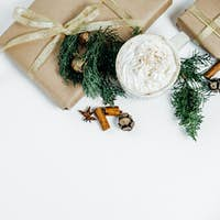 Christmas gifts on White Background. Flat lay, top view, space for text
