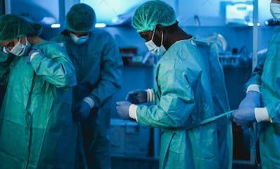 Men doctors at work inside hospital during coronavirus outbreak