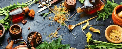 Healing herbs,roots and extracts in herbal medicine