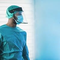 Doctors preparing to work inside hospital during coronavirus pandemic outbreak