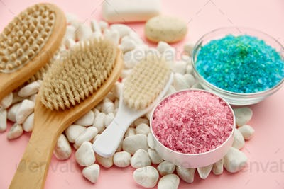 Skin care products creams and sea salt, macro view