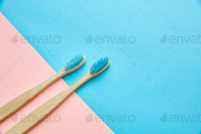 Oral care products concept, two toothbrushes