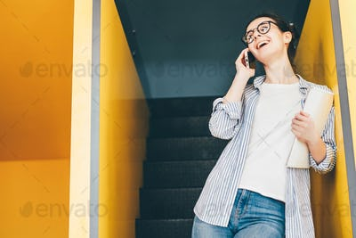 businesswoman using a smartphone in office