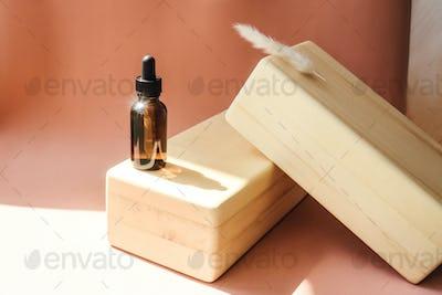 Blank amber glass essential oil bottle