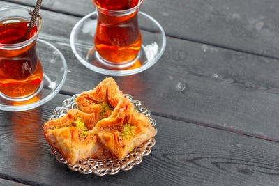 Traditional Baklava on Wooden Table. High quality photo