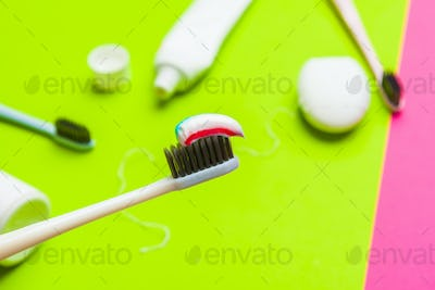 Taking care of teeth, dental concept on color background
