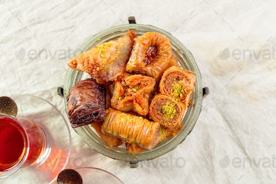 Traditional Baklava on Wooden Table. creative photo