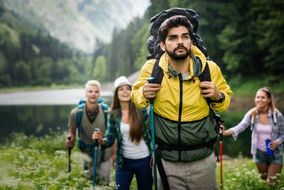 Hard, difficult, tiring and exhausting expedition of friends. Trekking, outdoor, activity concept