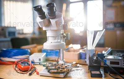 Modern microscope, electronic components in a scientific laboratory