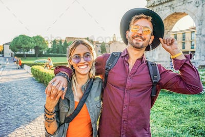 Happy tourist couple in vacation