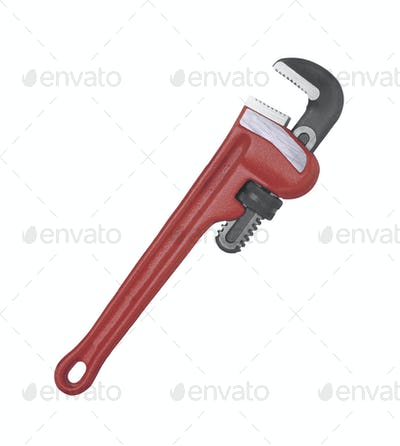 Pipe wrench isolated on white