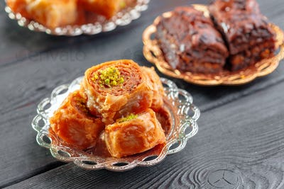 Traditional Baklava on Wooden Table. Close up