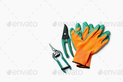 Gardening accessories on white background, space for text