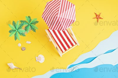 Sunbed, toy palm trees, paper sea waves. Summer vacations and beach, seaside holidays idea