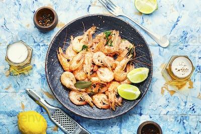 Boiled shrimp and fresh beer