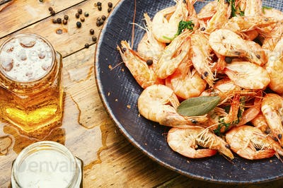 Tasty boiled shrimp