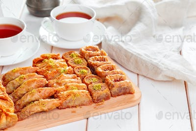 Traditional Baklava on Wooden Table creative photo.