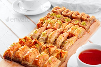 Traditional Baklava on Wooden Table. creative photo.