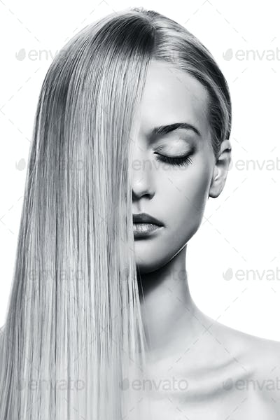 Beautiful Blonde Girl. Healthy Long Hair. BW Image