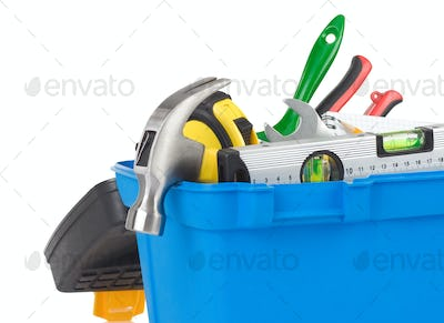 kit of construction tools in box