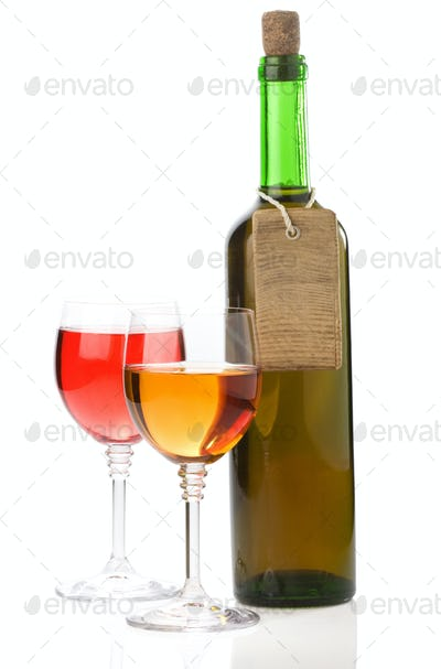 wine in glass and bottle on white