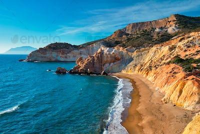 Agios Ioannis beach on sunset. Milos island, Greece