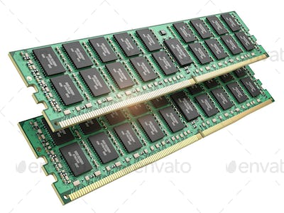 DDR ram computer memory modules isolated on white.