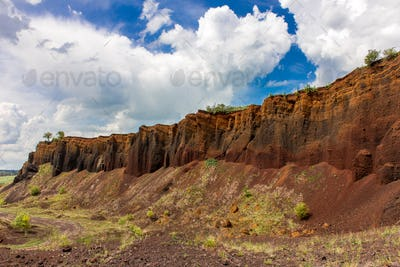 Volcanic crater wall