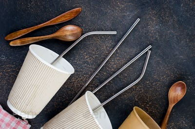 eco bags, bamboo toothbrush, reusable straws and recycled tableware