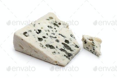 Slice of Roquefort cheese
