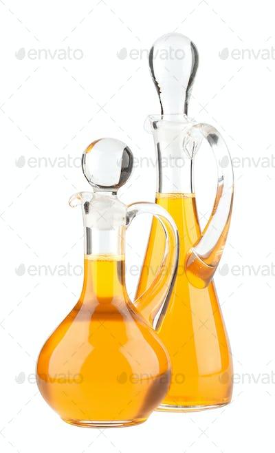 Vegetable oil glass bottle isolated on white