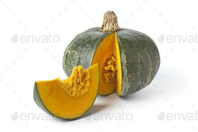 Green pumpkin with orange pulp