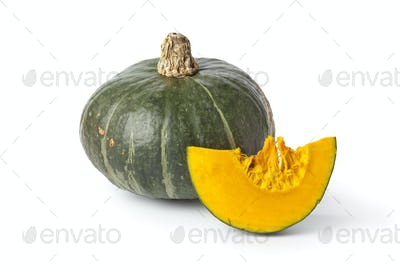 Green pumpkin with orange pulp